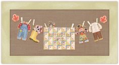 Autumn Baby Boy Sunshine Line Cross Stitch Birth Sampler Chart Pack    Includes: 14 count brown perforated Paper, glass seed beads, tapestry and beading needles, miniature clothespins, Velcro® pieces and charted design with alphabet and complete finishing instructions.  The pieces are individually stitched & beaded on perforated paper and mounted on the background of your choice with Velcro® and miniature clothespins.