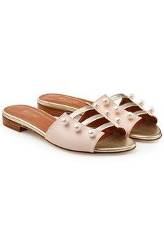 56614a634fe5 Malone Souliers - Zelda Leather Sandals with Faux Pearls