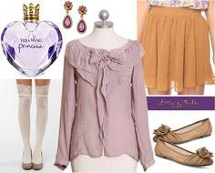 Outfit inspired by Vera Wang Princess fragrance: Ruffled blouse, skirt, knee-high socks, flats