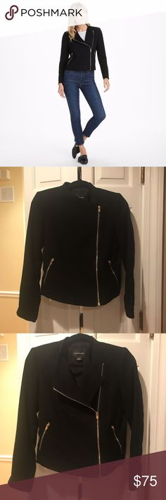 EUC Black Club Monaco Moto Jacket Size Small! This versatile Club Monaco Moto Jacket can be worn throughout the year. It is a lightweight jacket (Acetate/polyester) that is perfect for casual or dressy occasions. This jacket is a size Small (US 2/4). It is in excellent used condition with no tears.  It features a Straight fit, Asymmetrical gold-tone front zip, two side pockets with exposed gold-tone zips, and cuffs with exposed gold-tone zips Club Monaco Jackets & Coats