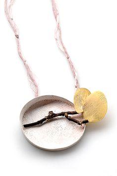 Lucia Massei  Pendant: nina …nina… 2009  silver, 18kt yellow gold, shibuichi, pearls, pigments