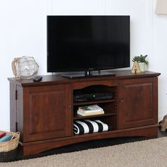 TV Stand Console Entertainment Center Large Storage Cabinets Open Shelves Brown #WalkerEdison #Contemporary