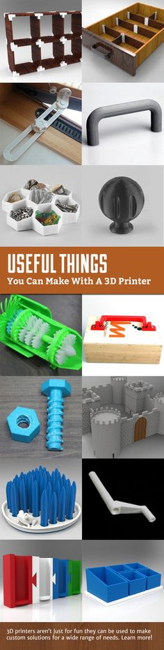 Useful things you can make with a 3D printer. From custom joinery to dividers…