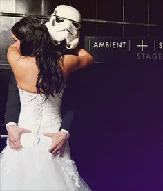 """A geeky Star Wars wedding - I just want to say, """"These are not the 'roids you're searching for""""."""