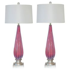 Pair of Vintage Murano Lamps In Lavender Pink Opaline | From a unique collection of antique and modern table lamps at http://www.1stdibs.com/furniture/lighting/table-lamps/
