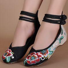 41 Cerrojo Mary 28 Verde de Mujeres 34 Alta Viejos Zapatos Top Hibiscus de Tamaño Sole Comprar Jane Bordado Pekín Pisos 14 Soft Ocasional x1Ivd44