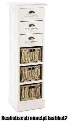 Hobby Hallin Tilda-laatikosto. Onko teilläkin laatikoissa Jotain, Mitä vain ja Ei mitään? -- Realistically named drawers?
