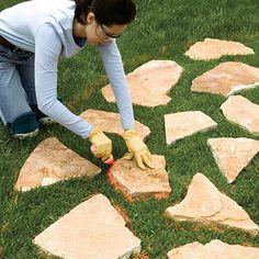 Stepping-stone Paths - Sand-Set & Mortared Patios - Walkways, Patios, Walls & Masonry. DIY Advice
