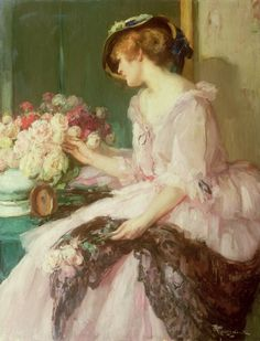 ⊰ Posing with Posies ⊱ paintings of women and flowers | KD - Fernand Toussaint - Arranging flowers