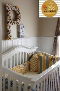 Yellow & Gray Nursery tutorials: DIY Custom crib bumper - Fun Cheap or Free