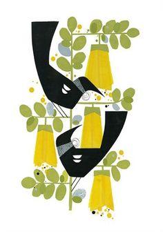 Two tuis (Kowhai) Print by Holly Roach Zwei tuis (Kowhai) Posterdruck von Holly Roach Bird Graphic, Nz Art, Kiwiana, Paper Birds, Mid Century Art, Canadian Artists, Bird Art, Online Art, Collage Art