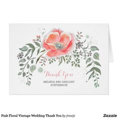 Pink Floral Vintage Wedding Thank You Card