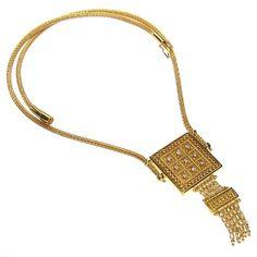 Parthenon Greek 18k Gold Byzantine Chains Square Diamonds Necklace  www.parthenon-greekjewelry.com