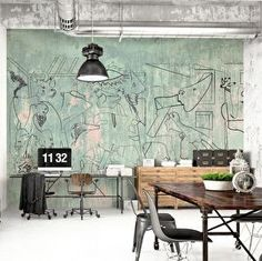 For a true statement you choose for this spectecular ;PICASSO GRAFFITI on an old factory wall, real cool!This wallpaper is printed on very high quality thick non woven wallpaper. Comes in rolls of 50 ;cm.