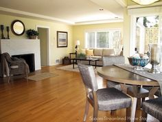 Staging shows how these open areas can be defined as cozy living spaces