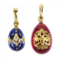 FABERGE- two 18ct gold enamel egg pendants. The first designed as an imperial eagle applied to the red guilloche enamel pendant, to the plain clip surmount, the second designed as a series of brilliant-cut diamonds, each within a kite-shape surround with applied cross detail to the blue guilloche pendant and plain clip surmount. Signed and numbered Faberge 487/1000 and 189/500 respectively. Diamond weight 0.06ct. Hallmarks for Edinburgh. Both with certificates of authenticity and makers…