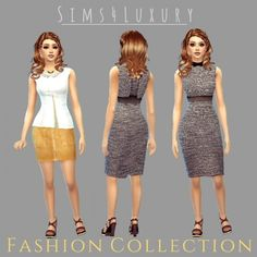 Fashion collection at Luxury via Sims 4 Updates Sims 4 Clothing, Female Clothing, Sims 4 Update, Sims 4 Custom Content, Sims 3, Two Piece Skirt Set, Clothes For Women, Formal Dresses, Luxury