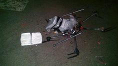 Six packages of methamphetamine were taped to a six-propeller remote-controlled aircraft, which fell out of the sky on Tuesday night near the San Ysidro crossing at Mexico's border with California.