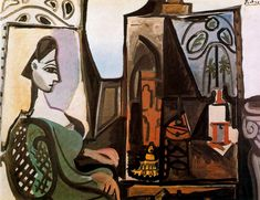Jacqueline en el taller. 1956. Óleo sobre lienzo. 114 x 146 cm. Donation Rosengart. Picasso-Sammlung der Stadt Lucern. Lucerna. Suiza