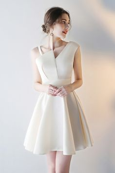 Shop Simple Champagne Homecoming Party Dress Short with Asymmetrical Straps online. All instock with Club Dresses, Sexy Dresses, Evening Dresses, Short Dresses, Fashion Dresses, Formal Dresses, Blue Bridesmaid Dresses, Homecoming Dresses, Prom Gowns
