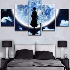 Large Bleach Moon Anime Cartoon Framed 5 Piece Canvas Wall Art Painting Wallpaper Poster Picture Print Photo Decor - Medium / Framed