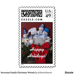 Snowman Family Christmas Wreath Postage Stamps