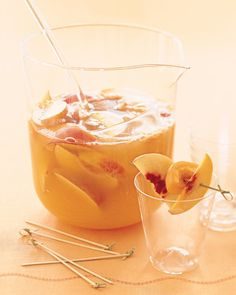 Use Prosecco or any other sparkling white wine to make this light, fruity party punch. Macerate sliced peaches, nectarines, and apricots in peach brandy before stirring in the bubbly.