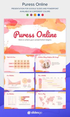 Create a nice and beautiful presentation full of watercolor effects with this template for Google Slides and PowerPoint Online Presentation, Presentation Design, Presentation Templates, Cute Powerpoint Templates, Powerpoint Presentations, Watercolor Effects, Slide Design, Creative Thinking, Nice