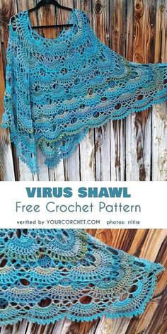 Virus shawl free crochet pattern, beautiful realization Tidal Colorway How would you like to own a truly viral shawl? The virus shawl is all the rage: it's colourful, it's got a beautiful texture and Poncho Au Crochet, One Skein Crochet, Crochet Poncho Patterns, Crochet Shawls And Wraps, Crochet Scarves, Diy Crochet, Crochet Clothes, Crochet Stitches, Knitting Patterns