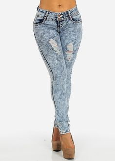 Butt Lifting Ripped Jeans (Acid Wash)
