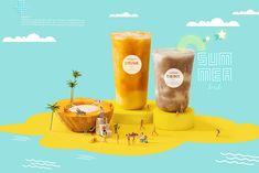 这个夏天有点黄 ~奶茶摄影 yellow summer drink tea on Behance Food Graphic Design, Food Poster Design, Menu Design, Ad Design, Ads Creative, Creative Posters, Branding, Layout, Food Promotion