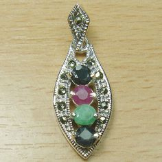 Round Cut Genuine Ruby Emerald Sapphire 925 Sterling Silver Pendant