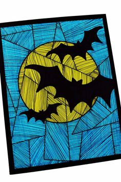 Halloween bats. line. shape. texture. repetition. variety. emphasis. warm/cool colors. contour line. silhouette. overlapping.