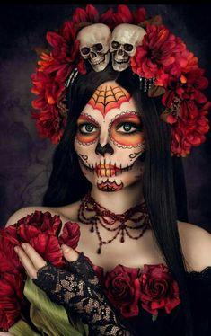 la Catrina by Lycilia on DeviantArt Candy Skull Makeup, Halloween Makeup Sugar Skull, Sugar Skull Costume, Candy Skulls, Sugar Skull Art, Halloween Makeup Looks, Halloween Kostüm, Halloween Costumes, Sugar Skulls