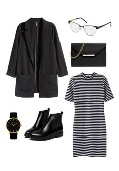 Gold accents on a pair of Rodenstock glasses, a modern watch, and a sleek purse give this otherwise black and white outfit a little bit of shimmer.