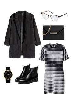 Goldene Akzente auf einer Rodenstock Brille, eine moderne Uhr und ein schickes Portmonnaie geben diesem ansonsten in Schwarzweiß gehaltenen Outfit noch mehr Glanz.