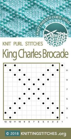 King Charles Brocade Knitting Stitch Patterns - King Charles B. - blacklake - King Charles Brocade Knitting Stitch Patterns – King Charles B… King Charles Brocade Knitting Stitch Patterns – King Charles Brocade Chart. Knit Purl Stitches, Knitting Stiches, Knitting Charts, Loom Knitting, Knitting Patterns Free, Knit Patterns, Baby Knitting, Stitch Patterns, Knitting Machine