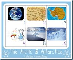 Calendar Connections- Arctic/Antartica calendar cards/facts Grades but can dilute info for younger children Calendar Time, Free Calendar, January Calendar, Montessori, Winter Thema, Artic Animals, Snow Theme, Winter Activities For Kids, Kindergarten Science