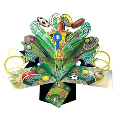 Sports Icons Pop-Up Greeting Card Original Second Nature Pop Up Cards Best Selling Range Of Greeting Cards Available At Love Kates. Pop Up Greeting Cards, Pop Up Box Cards, Nature 3d, Sport Icon, Party Supplies, Birthday Cards, Balloons, Birthdays, Stationery