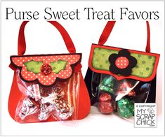 Cute little treat bags for holidays, parties, weddings and craft shows. 2 designs, a scallop flap with holly berry and bracket flap with flower.