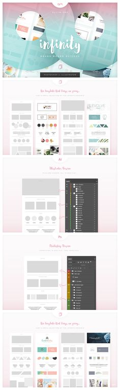'Infinity' Brand Board Builder Template --- Keep your brand proposals fresh and easy, with practically limitless layouts, all in one file, with a Brand Board Branding Kit, Branding Design, Logo Design, Graphic Design, Interior Storm Windows, Websites Like Etsy, Board Builder, Design Typography, Photoshop