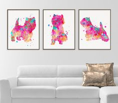 West Highland Terrier Art, Set of 3 Prints, Westie Wall Decor, Westie Prints, Watercolor Westie, Westie Gifts, Westie Ornament, Dog Lover