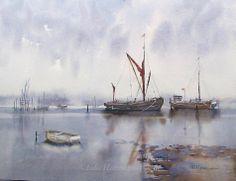 Thames Barge Maldon by Edo Hannema. Watercolor Artists, Watercolor Portraits, Watercolor Landscape, Watercolor And Ink, Artist Painting, Landscape Paintings, Landscapes, Watercolour Paintings, Boat Art