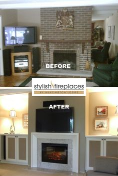 Fireplace makeover by Stylish Fireplaces. Original brick covered in drywall; raised concrete heath removed; electric #fireplace insert; granite surround and floor slab; new mantel and custom cabinets.