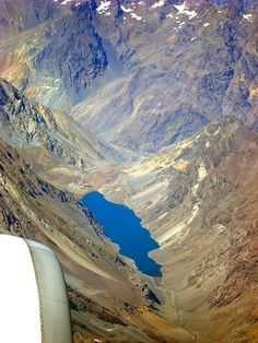 Laguna del Inca from airplane in Chile. What A Wonderful World, Beautiful World, Beautiful Places To Visit, Places To See, Places Around The World, Around The Worlds, Easter Island, South America, Central America