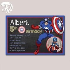 Marvel Captain America Chalkboard Birthday Party Card Digital Invitation With…