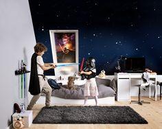 Dra ned gardinen, og la drømmene ta deg med til en annen galakse Attic Storage, Bedroom Storage, Home Interior, Decoration, Toddler Bed, Kids Room, Children, Furniture, Home Decor