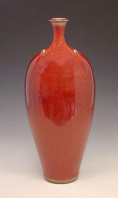 Peter Sparrey - stoneware bottle copper red glaze