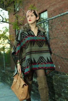 Poncho Trend - Mexican Fashion Blog Nancy Nannuck 2014 #mexicanfashionblog #pattern #poncho #style