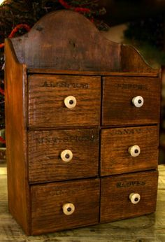 Image detail for -Six Drawer Spice Cabinet with Original Porcelain Knobs Spice Drawer, Spice Tins, Wooden Drawers, Wooden Boxes, Upcycle Home, Spice Containers, Pie Safe, Spice Organization, Wall Boxes